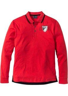 Футболка-поло Regular Fit с длинным рукавом (красный) Bonprix
