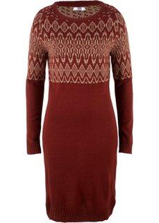 Вязаное платье (красный каштан/серо-коричневый с узором) Bonprix