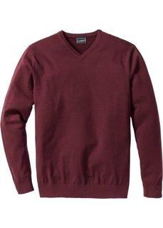 Пуловер Regular Fit с V-образным вырезом (темно-бордовый) Bonprix