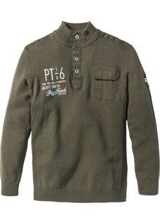 Пуловер Regular Fit с высоким воротом (темно-оливковый) Bonprix