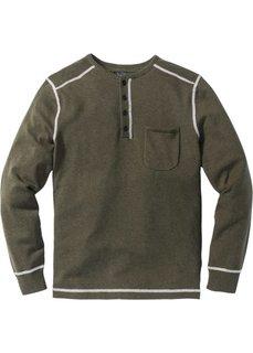 Пуловер Regular Fit (темно-оливковый меланж) Bonprix