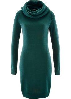 Вязаное платье с высоким воротом (зеленый) Bonprix