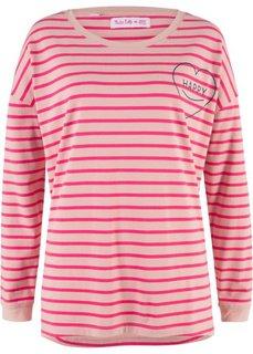 Полосатая футболка с длинным рукавом оверсайз, дизайн Maite Kelly (винтажный розовый/ярко-розовый гибискус в полоску) Bonprix