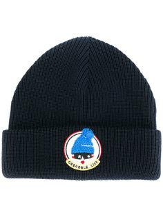 шапка в рубчик с заплаткой с логотипом Moncler Grenoble