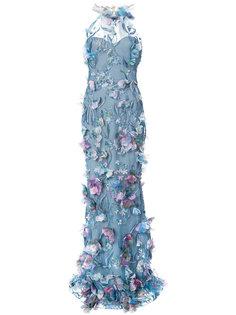 вечернее платье с цветочной аппликацией Marchesa Notte