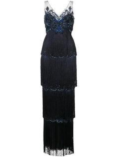 вечернее платье с многослойной бахромой Marchesa Notte