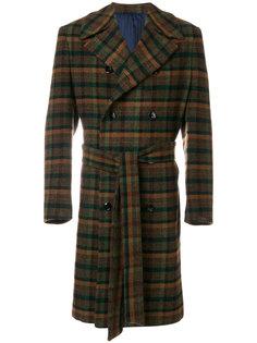 двубортное пальто в клетку Mp  Massimo Piombo