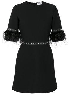 платье мини с заклепками и перьями  Ainea