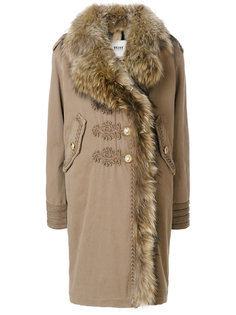 embroidered details shearling coat  Bazar Deluxe