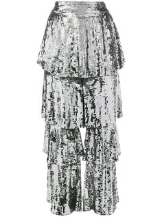 sequin embellished tiered culottes Osman