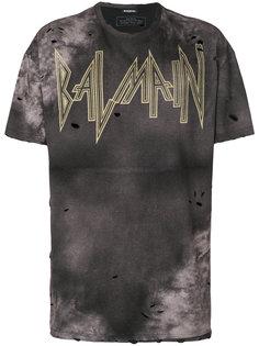 футболка с принтом с логотипом и с эффектом потертости Balmain