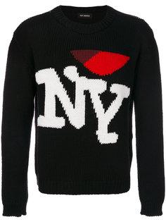 свитер с вышивкой NY Raf Simons