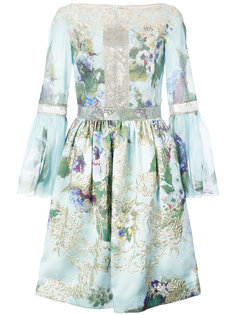 embroidered flowers gathered dress Marchesa