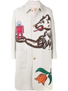 длинное пальто с вышивкой Walter Van Beirendonck