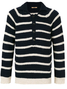 striped button collar jumper  Nuur