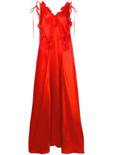 платье макси с отделкой из рюшей Attico
