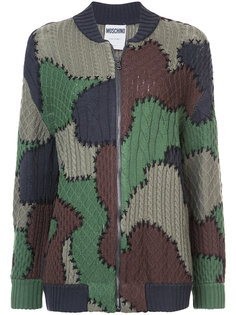 patchwork knitted bomber jacket Moschino