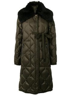 стеганое пальто с мехом  Moncler