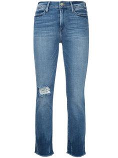 укороченные джинсы с необработанным краем  Frame Denim