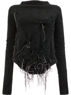 декорированный свитер с воротником-лодочкой Suzusan