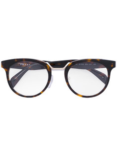 round tortoiseshell glasses Prada Eyewear