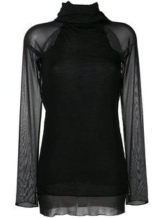 блузка-водолазка с полупрозрачной отделкой  Andrea Yaaqov