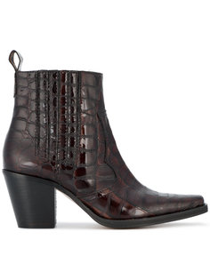 Pointed Croc Cowboy Boot Ganni