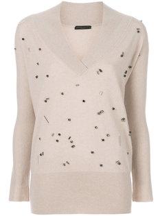 пуловер с V-образной горловиной и бусинами Fabiana Filippi