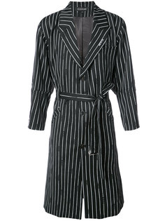 pinstripe belted coat Icosae