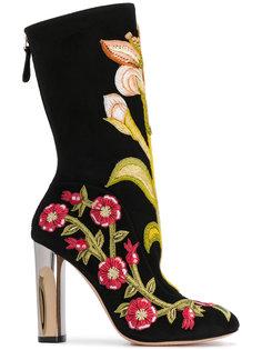 сапоги с цветочной вышивкой Alexander McQueen
