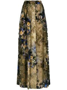 плиссированная юбка макси с цветочным принтом  Alberta Ferretti