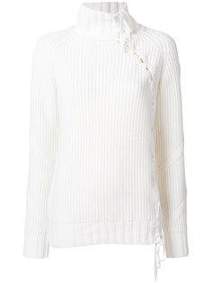 свитер с отворотом и шнуровкой  Karl Lagerfeld