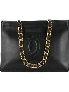 сумка-тоут на цепочке с логотипом Chanel Vintage