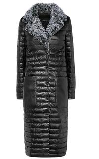 Женское кожаное пальто с отделкой мехом козлика La Reine Blanche