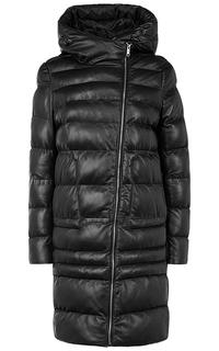 Кожаное пальто на искусственном пуху La Reine Blanche