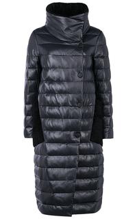 Зимнее кожаное пальто с отделкой овчиной La Reine Blanche