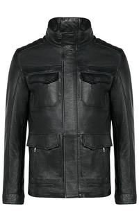 Черная кожаная куртка на синтепоне Jorg Weber