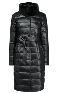 Зимнее кожаное пальто с отделкой мехом кролика La Reine Blanche