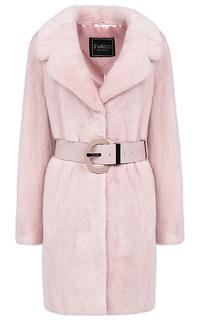 Пальто из аукционной норки с кожаным поясом Fellicci
