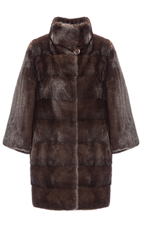 Шуба из аукционного меха норки SAGA furs с воротником-стойкой Fellicci