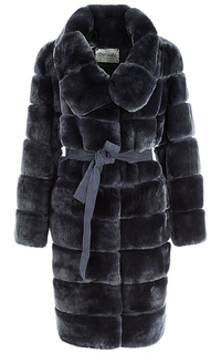 Шуба из меха кролика с поясом Virtuale Fur Collection
