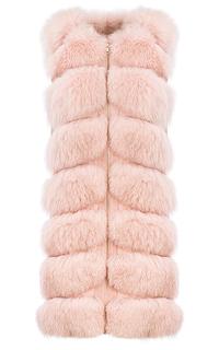 Розовый жилет из меха песца на молнии Fellicci