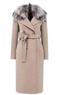 Утепленное шерстяное пальто на мембране RAFT PRO с отделкой мехом лисы Pompa
