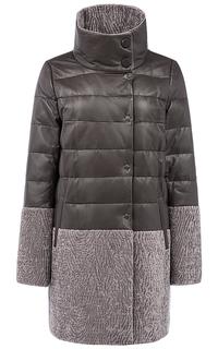 Кожаная куртка на натуральном пуху с отделкой овчиной La Reine Blanche