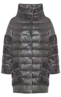Комбинированная зимняя куртка из натуральной кожи и овчины La Reine Blanche