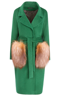 Полушерстяное пальто с отделкой натуральным мехом лисы La Reine Blanche