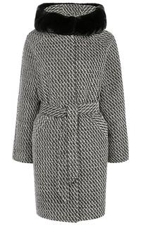 Твидовое пальто с поясом и отделкой мехом кролика La Reine Blanche