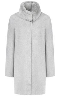 Полушерстяное пальто с отделкой натуральным мехом кролика La Reine Blanche