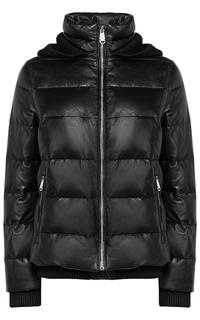 Зимняя кожаная куртка с капюшоном La Reine Blanche