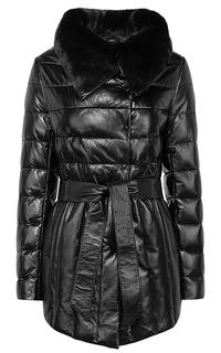Зимняя кожаная куртка с поясом и отделкой мехом кролика La Reine Blanche